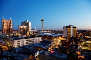 San Antonio downtown just after sunset showing skyline around Tower of the Americas & Alamodome